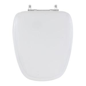 Assento Sanitário Madeira Branco Fechamento Comum Fixação Cromada para Vaso Deca Monte Carlo