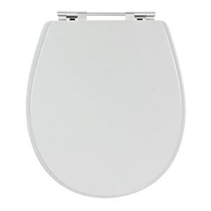 Assento Sanitário Madeira Branco Fechamento Comum Fixação Cromada Universal