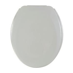 Assento Sanitário Plástico Cinza Prata Fechamento Comum Fixação Branca Universal