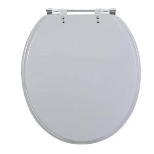 Assento Sanitário Plástico Cinza Real Fechamento Comum Fixação Cromada Universal