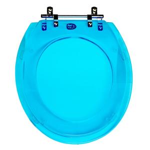 Assento Sanitário Convencional Poliéster Azul Fechamento Comum Tampex