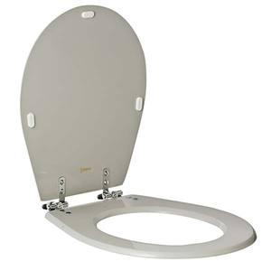 Assento Sanitário Comum Poliéster Cinza Quartzo Para Vaso Universal Comprimento 43 Cm Largura 38 X 14,5 Cm Thebas