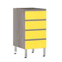 Balcão de Cozinha 4 Gavetas 53x82,5x53cm Amarelo  Prime Luciane