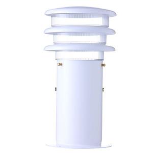 Balizador Alumínio Pintura Eletrostática Branco com Aleta Altura 30cm Largura 15cm Largura Total 16cm STB130 Com Cúpula Policarbonato Alloy Iluminação