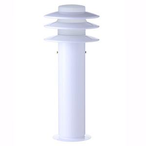 Balizador Alumínio Pintura Eletrostática Classic Plus Branco Altura 50cm Largura 15cm Largura Total 21cm STB111 Com Cúpula Vidro Alloy Iluminação