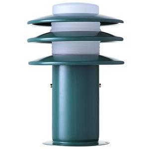 Balizador Alumínio Pintura Eletrostática Classic Plus Verde Altura 30cm Largura 15cm Largura Total 21cm STB111 Com Cúpula Vidro Alloy Iluminação