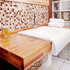 Bancada para Cuba de Embutir Madeira Natural 8x120x51 cm Veneza Sicmol