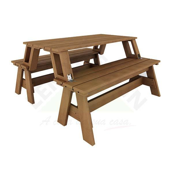 Banco mesa multiuso madeira 150x73cm jatob m o form o - Mesa plegable maleta leroy merlin ...