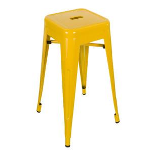 Banqueta Aço Lisa Alta 43x76cm Amarelo Importado