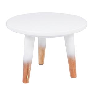 Banqueta Madeira Retrô Branca 22x30cm