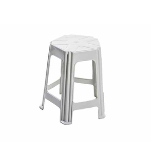 Banqueta Plastica Baixa 5 Pernas Branca