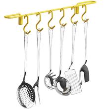 Barra de Cozinha com 6 Ganchos Fixa com Ondulação Amarelo 4027 Domo