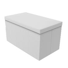 Baú Desmontável Branco 39x71x36cm Couro Sintético