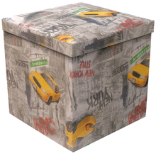 Baú Desmontável Cinza 40x40x40cm Couro Sintético