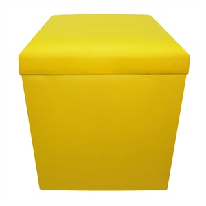 Baú Puff Desmontável Top Amarelo 43x40x40 cm
