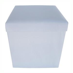 Baú Puff Desmontável Top Branco 43x40x40 cm