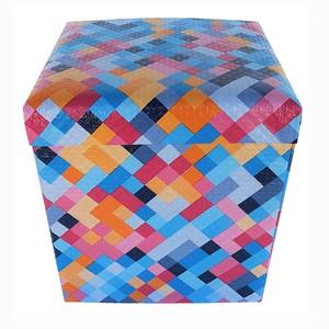 Baú Puff Desmontável Top Geometrico 43x40x40 cm