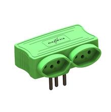 Benjamim com USB 2 Saídas 2 Pólos+Terra Verde Daneva