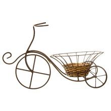 Bicicleta Rattan com Cachepot Marrom Shangai