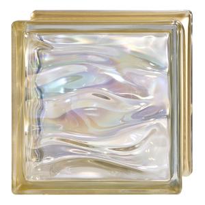 Bloco de Vidro Água Perla Oro 19x19x8cm Detalli