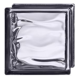 Bloco de Vidro Água Reflejos Negro 19x19x8cm Detalli