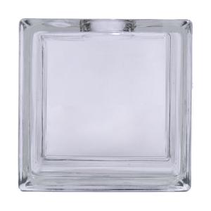 Bloco de Vidro Liso Incolor Furo Redondo 19x19x8cm CasaFina