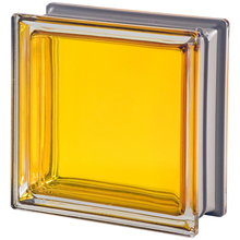 Bloco de Vidro Metalizado Amarelo 19x19x8cm Seves