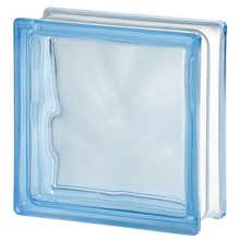 Bloco de Vidro Ondulado Azul 19x19x8cm Seves