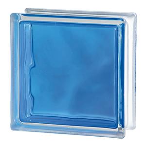 Bloco de Vidro Ondulado Brilly Azul 19x19x8cm