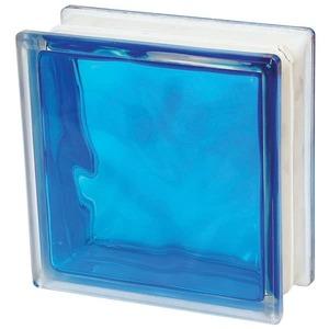 Bloco De Vidro Ondulado Azul Interno Basic 19X19X8cm