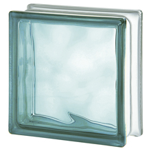 Bloco de Vidro Ondulado Turquesa 19x19x8cm Seves Glass Block