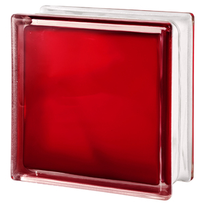 Bloco de Vidro Ondulado Vermelho 19x19x8cm