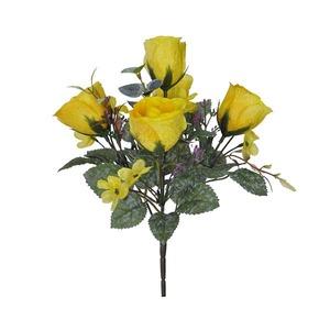 Boquet Artificial Rosa Craqueado Amarelo Flor Arte