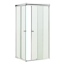 Box de Canto Vidro Incolor Kit Prata 1,85x0,80x0,80m