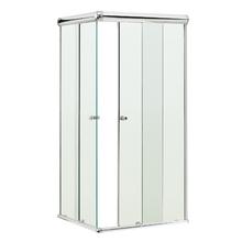 Box de Canto Vidro Incolor Kit Prata 1,90x0,80x0,80m