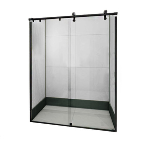 Box Frontal de Correr Vidro 200x120cm Incolor Kit Preto Speed Temper