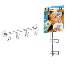 Cabide Cromado  4 ganchos com ventosas  -  Acompanha parafusos e buchas  para fixação - DoubleFix  34 x 5,4 x 8 - Arthi