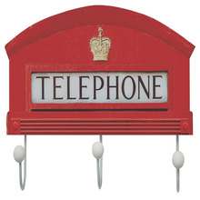 Cabideiro 3 Ganchos MDF Vermelho Telephone Kapos