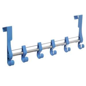 Cabideiro 6 Ganchos Plástico e Metal Azul 11x53x5cm Arthi