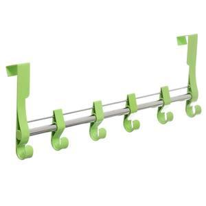 Cabideiro 6 Ganchos Plástico e Metal Verde 11x53x5cm Arthi