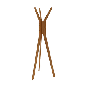 Cabideiro de Chão 3 Ganchos 165x56cm Amadeirado Escuro Wood Mão e Formão