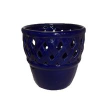 Cachepot Cerâmica Bergamo Azul Médio