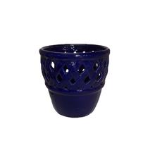 Cachepot Cerâmica Bergamo Azul Pequeno