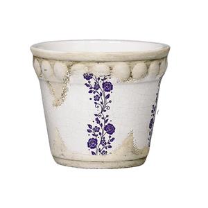 Cachepot Cerâmico Bolinhas Floral Branco Grande