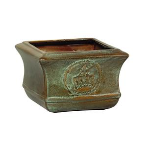 Cachepot Cerâmico Vietnam Coroa Verde Grande