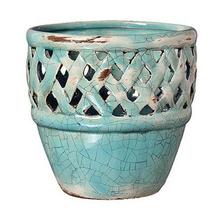 Cachepot de Cerâmica Bergano Gazebo China Grande Redondo Azul 23x23x22cm
