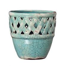 Cachepot de Cerâmica Bergano Gazebo China Pequeno Redondo Azul17x17x17cm