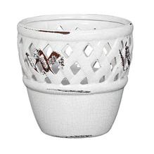 Cachepot de Cerâmica Bergano Gazebo Escoreado Grande Redondo Branco 23x23x22cm