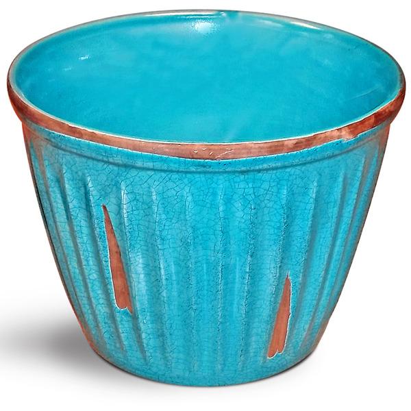 Cachepot cer mica frisado turquesa pequeno leroy merlin - Leroy merlin ceramica ...
