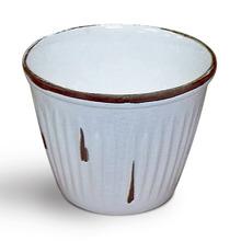 Cachepot de Cerâmica Frisado Escoreado Grande Redondo Branco 19x19x10cm